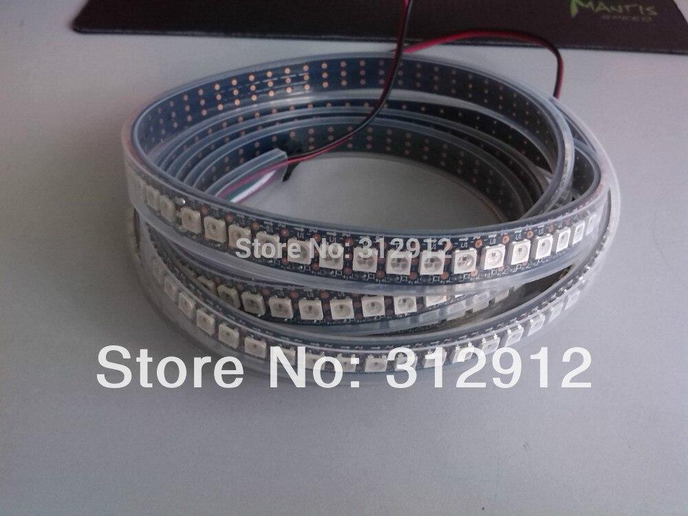 144 leds/m WS2812B (5050 rgb led avec WS2811 IC intégré) bande de pixels led, DC5V, 2 m de long; étanche dans un tube en silicone; PCB noir