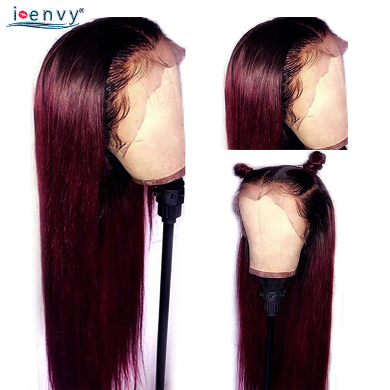 Ombre 99J 13*4 Lace Frontal Human Hair Wigs Burgundy Red Colored Straight Lace Front Wigs Brazilian Lace Wig Pre Plucked Nonremy