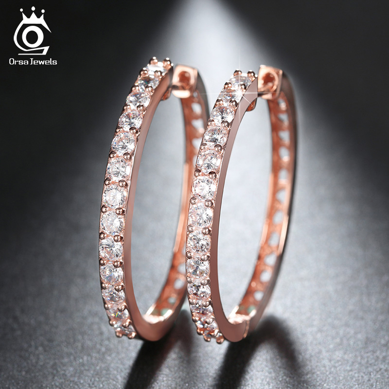 ORSA JEWELS 2018 Rose Guldfärg Big Hoop Örhängen Paved Luxury AAA Cubic Zirconia Mode Kvinnor Round Loop CZ Örhängen OE143