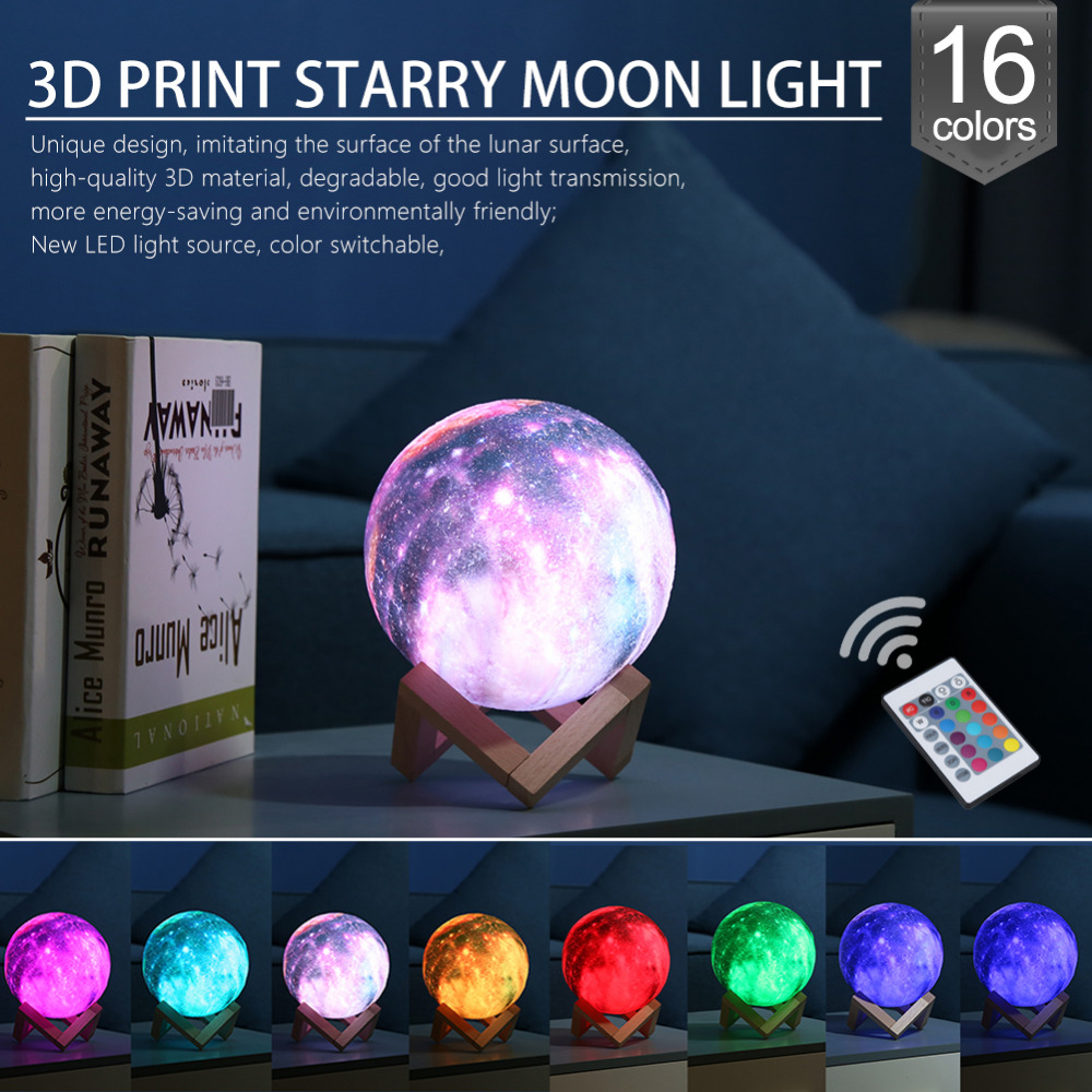 16 Color 20cm 3D Print Star Moon Lamp Colorful Change Touch USB LED Night Light Galaxy Lamp Home Decor Creative Gift Drop Ship