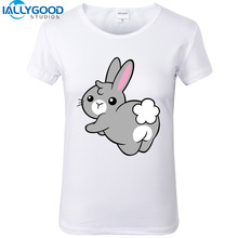 New Summer Funny lovely Bunny soft ass T-Shirts Women Short Sleeve Cartoon White Tops Cotton Slim Casual Women T Shirts S1118
