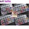 3600 Pcs 3D Limpar Prata 2mm Rodada Mix Teardrop Nail Art Sticker prego Gems Pedrinhas Deco Glitters Linda Unha decoração