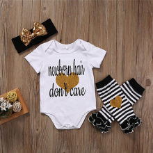 Summer newborn hair dont care Letter Toddler Infant Baby Girls Bodysuit+Striped Leg Warmer Headband Socks Outfits Set Clothes