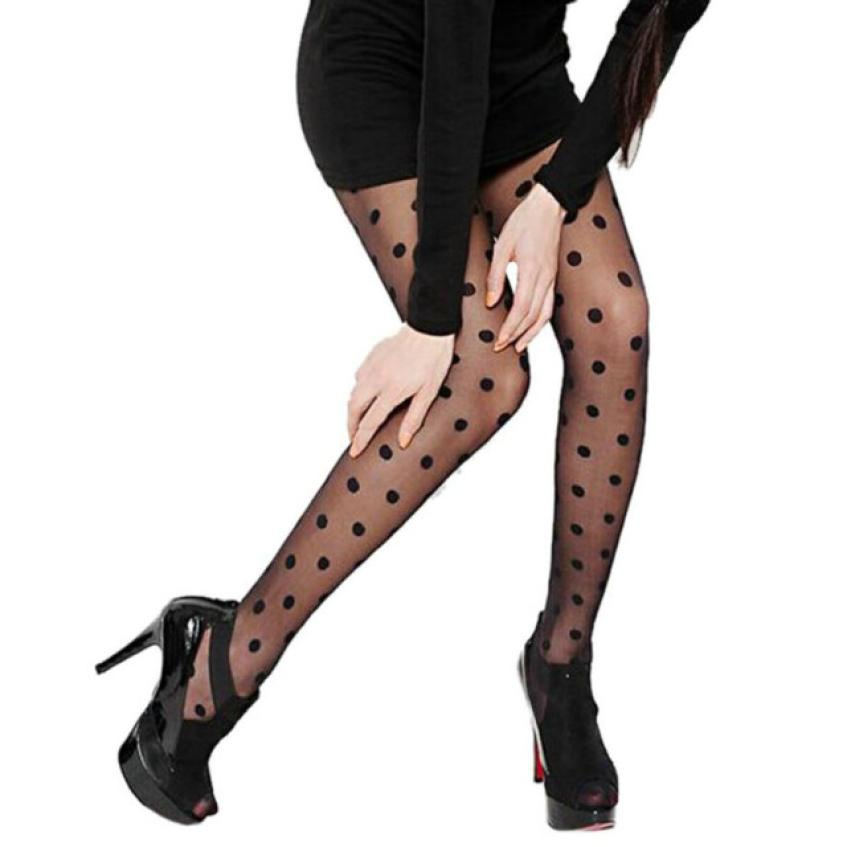 CHAMSGEND Women Sexy Sheer Lace Big Dot Pantyhose Dots Socks 22a