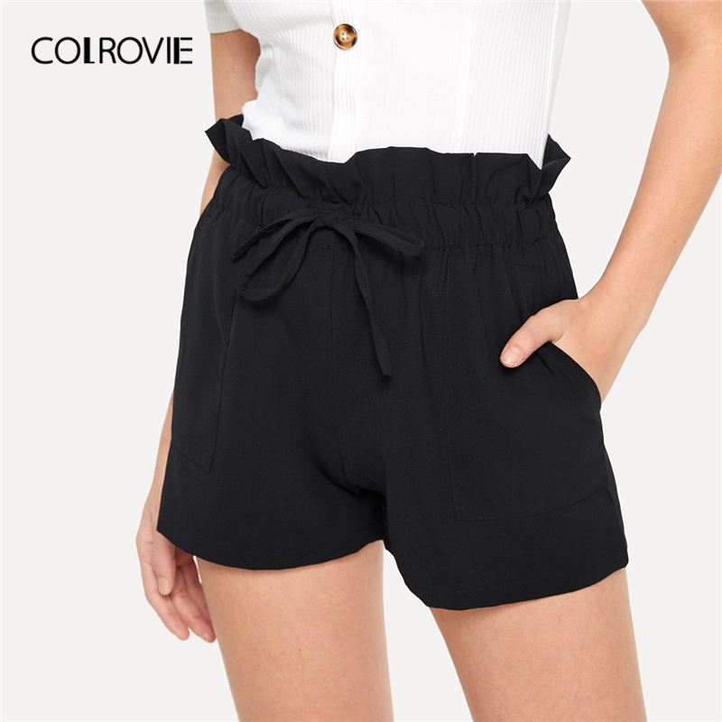 COLROVIE Black Solid Drawstring Waist Paperbag   Shorts   Women 2019 Summer Casual Bottoms For Young Lady Female High Waist   Shorts