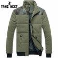 Tangnest 2017 venta caliente del invierno caliente abajo chaqueta parka hombres populares cómodo ocasional del remiendo delgado chaqueta de invierno los hombres mwm1397