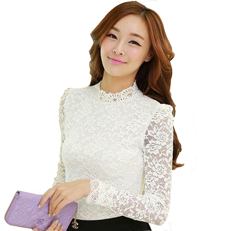 2dbb2d0d96 US $12.82 20% OFF|White long sleeve lace tops for women elegant mock neck  see through slim fit shirts ladies black formal office work blouses-in ...
