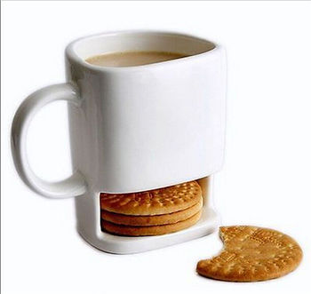 8.8 oz Cookies Milk Coffee Cup Ceramic Mug Dunk Mug with Biscuit Pocket Holder Кубок