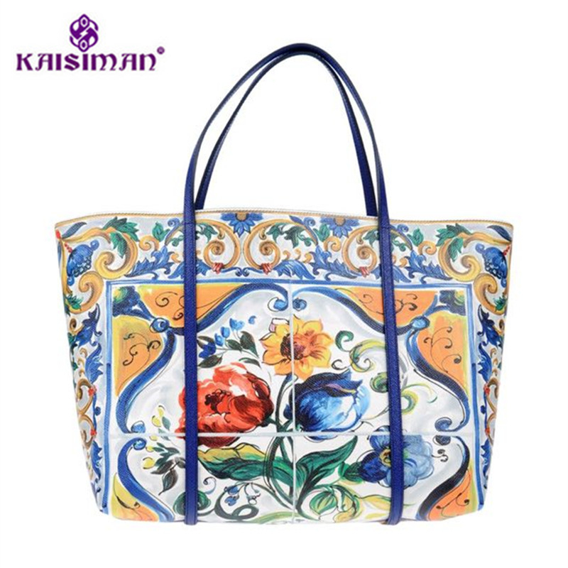 Famous Designer Flower Print Painted Women Shoulder Bag Super Luxury Tote Bags Ethnic Style Handbag Genuine Leather Shopper Bags ethnic style tribal print top and mini shorts women s twinset