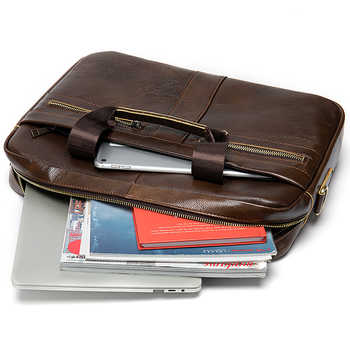 WESTAL Bag men\'s Genuine Leather briefcase Male man laptop bag natural Leather for men Messenger bags men\'s briefcases 2019