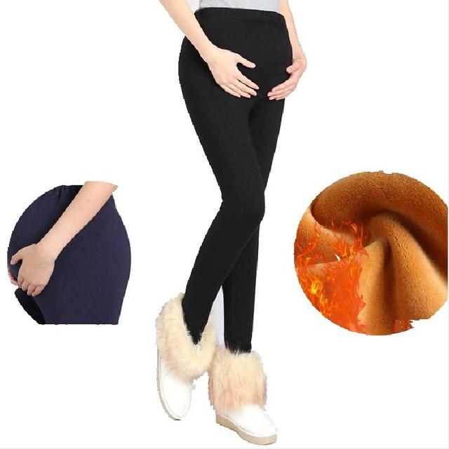 Roupas femininas Roupas Leggings Inverno Engrossado Com Veludo Mulheres Grávidas Calças de Maternidade Gravidez Calças Quentes