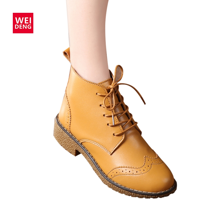 WeiDeng 2017 Women Genuine Leather Bullock Ankle Boots Fashion Outdoor Lace up Classic Military Boats High