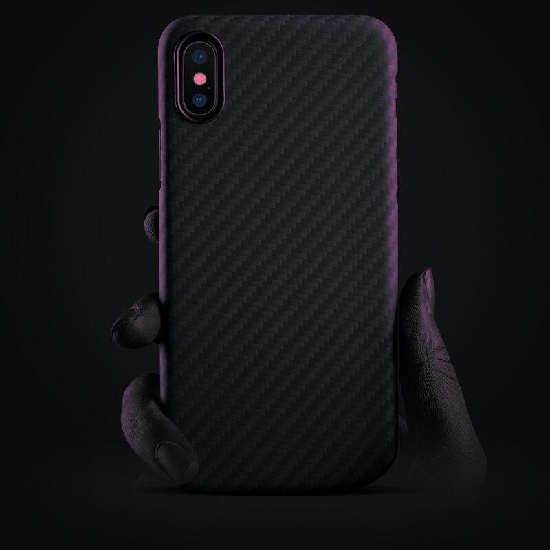 Fibre De Carbone De luxe étui pour iPhone X XS Max XR 7 8 Plus Cas Mat Aramide fibre rouge à lèvres de charme coque pour téléphone pour iPhone XS max - 2