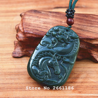 Natural Dark Green HETIAN Stone Pendant Carved Chinese Dragon Horse Pendant Necklace Men Stone Jewelry Free