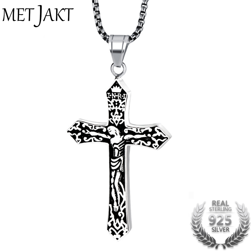 цена MetJakt Good Friday Vintage Cross Pendant Solid 925 Sterling Silver Pendant for Necklace for Men Thai Silver Jewelry