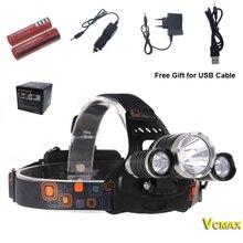 VCMAX 3 СВЕТОДИОДНЫЕ Фары 8000 Люмен Cree XM-L T6 Фара СВЕТОДИОДНЫЕ Фары Высокой Мощности + 2 шт. 18650 батареи зарядное устройство + автомобильное зарядное устройство