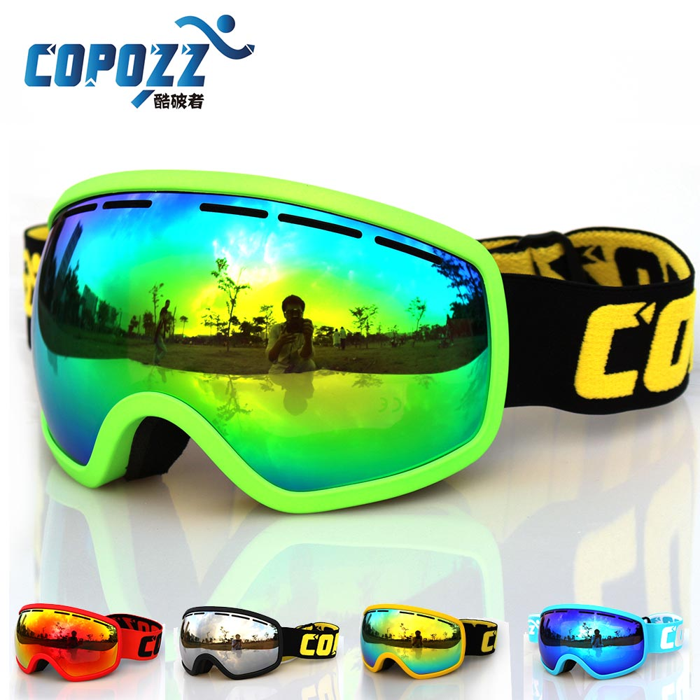 Prix pour Copozz grand cadre neige ski lunettes professionnel uv400 anti brouillard ski lunettes masque pour hommes femmes gog-207