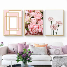 Canvas Art Print Pink Rose Flower Geometry Nordic Posters And Prints Wall Painting Girl Pictures For Living Room