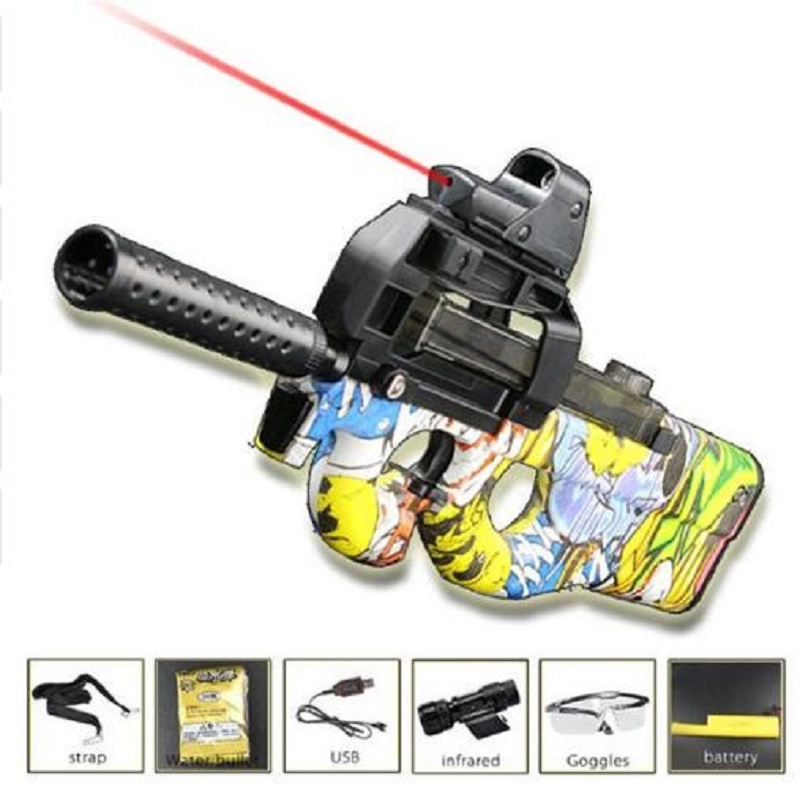 P90 Electric Toy Gun Graffiti Edition Live CS Assault Snipe Weapon Soft Water Bullet Bursts Gun Funny Outdoors Toys For Kid usa electric plastic p90 graffiti edition toy gun soft water bullet toy gun outdoors live cs weapon tattoo water gun toys for kids