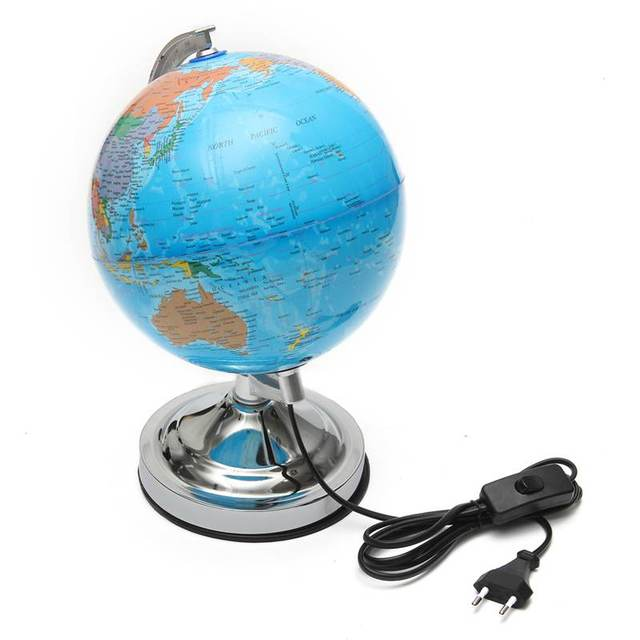 Blauwe Oceaan Wereld Aarde Verlichte Globe Roterende Tafel ...
