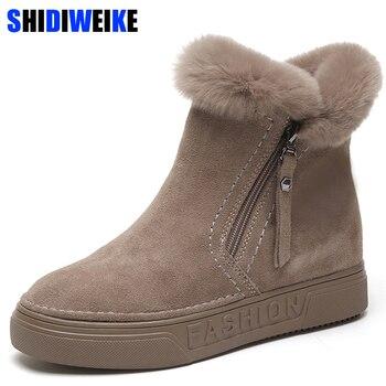 Женские зимние ботильоны на молнии из флока, зимние ботинки на платформе, женские плюшевые кроссовки, повседневная обувь на плоской подошве...