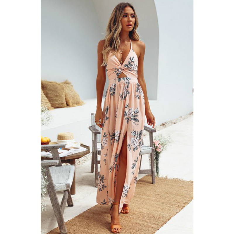 Summer Sexy V Neck Maxi Dresses Hot Women Floral Print Split Backless Beach Long Vestidos Sleeveless Boho Dress