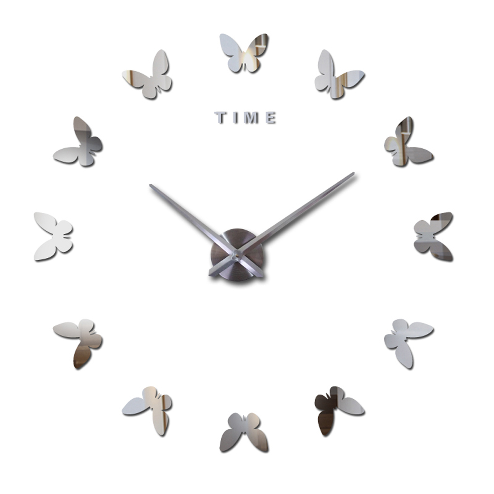 Perfect Time Letters 2016 Wall Clock Luxury Large Mirror Butterfly Home Decor Art Clock Diy Wall Wall Clocks From Home On Time Letters 2016 Wall Clock Luxury Large Mirror furniture Wall Art Clock