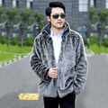 Venta caliente 2015 nuevos hombres de la moda invierno cálido faux fur coat gris claro hombres collar del mandarín chaqueta Casual de piel de zorro de piel de lujo abrigos