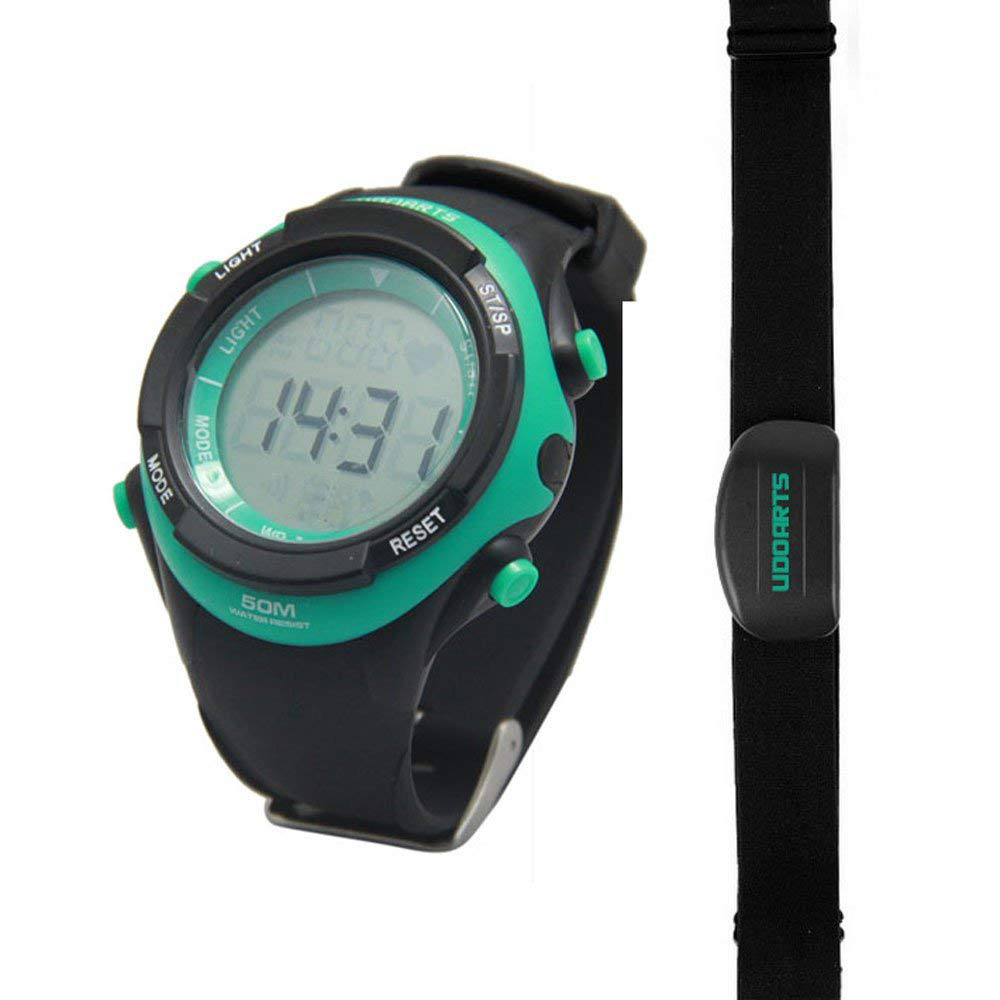 Udoarts Heart Rate Monitor with Chest Strap 2 Pack of 5 Batteries and Screwdriver Black Green