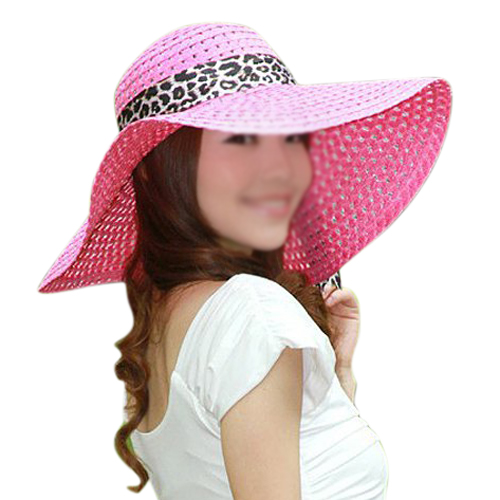 HOT Pink Summer Exquisite Leopard Ribbon Bowknot Decorated Openwork Sun Hat  For Women 56022a6a0d0