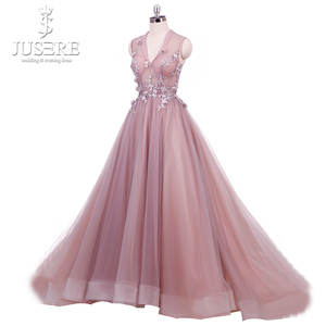 Image 2 - Real Photo Blush vestido longo de festa Paux V Cổ Ảo Giác Vạt Áo với Floral Appliques MỘT dòng Hoa Vải Tuyn Prom ăn mặc