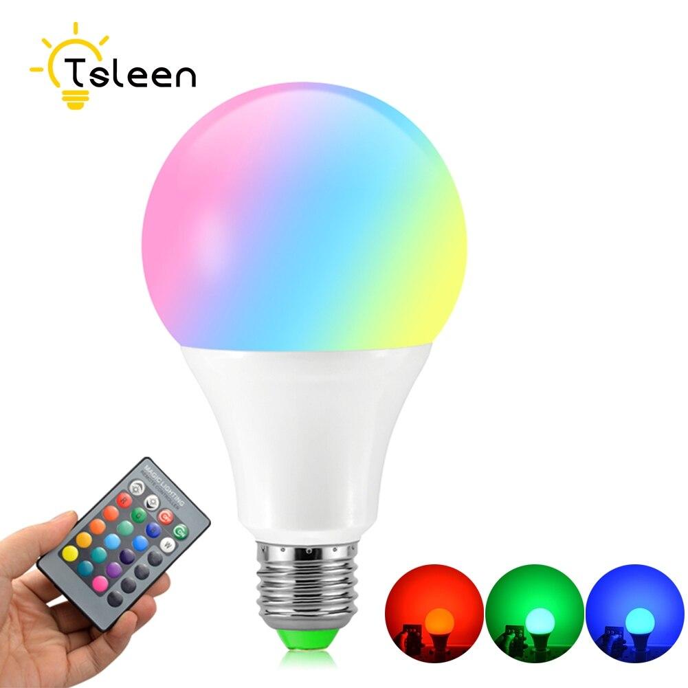 TSLEEN E27 RGB LED Bulb 16 Color Changing RGB Led Light Dimmable Lamp 110V 120V 220V RGB Led Light Spotlight + IR Remote Control