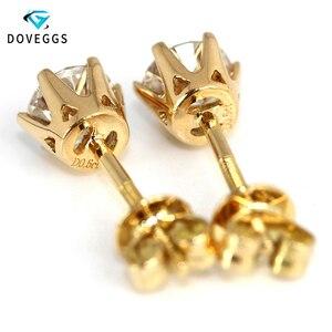 Image 2 - Doegg boucles doreilles en or jaune 585, 14K, 1 0ctw, 5mm de couleur F, créées en laboratoire, Moissanite, clous à clous en diamant, en or brillant pour femmes