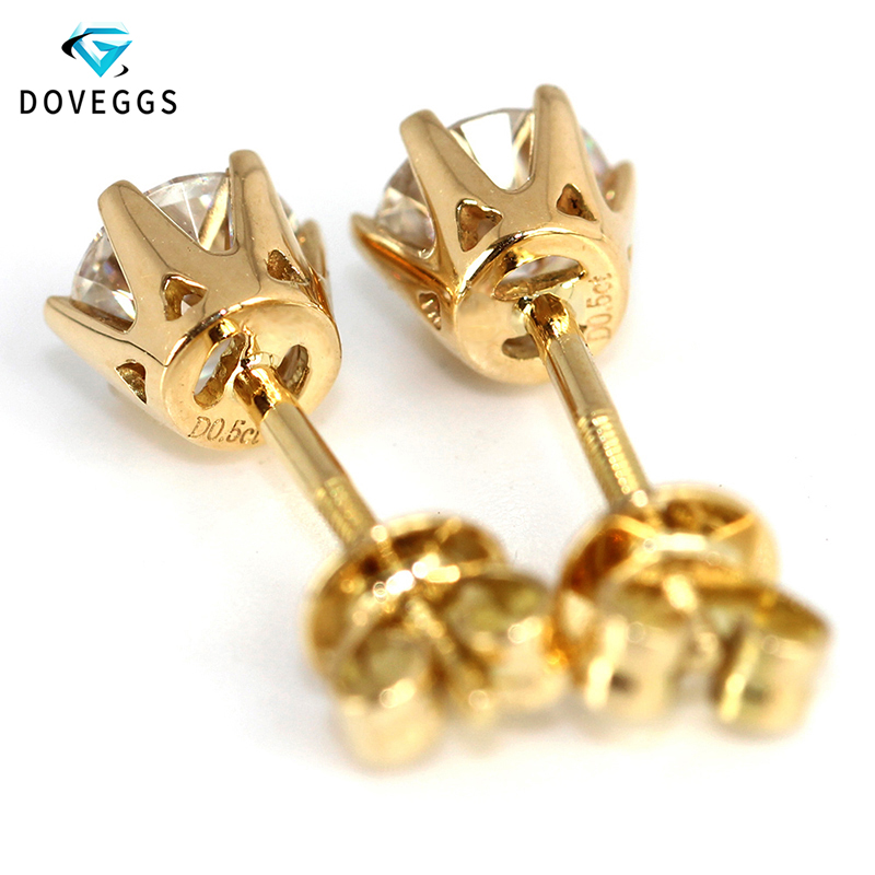 DovEggs 14K 585 Oro amarillo 1.0ctw 5mm F Color Lab Creado Moissanite - Joyas - foto 2