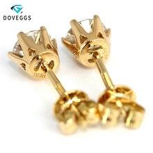Genuine18K 750 Yellow Gold Screw/Push Back 1 Carat ct F Color Test  Positive Lab Grown Moissanite Diamond Earrings