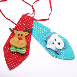 Christmas Kids Favor sequin tie Santa Claus Snowman Reindeer Bear Christmas Decoration For Home Xmas Kids Toy Ornaments