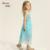 Niñas Vestido de la Playa Vestido Largo de Encaje Con Lentejuelas Partido de La Princesa Boda Del Desfile Sin Mangas Sólido Traje Adolescente Vestidos de Bola Vestidos
