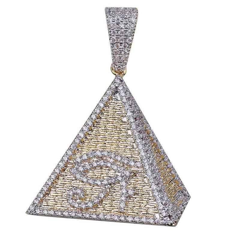 MISSFOX ヒップホップエジプトホルスゴールドネックレスチェーン 24 18k ゴールドメッキ Cz ストーンエジプトピラミッド男性ファッションジュエリー