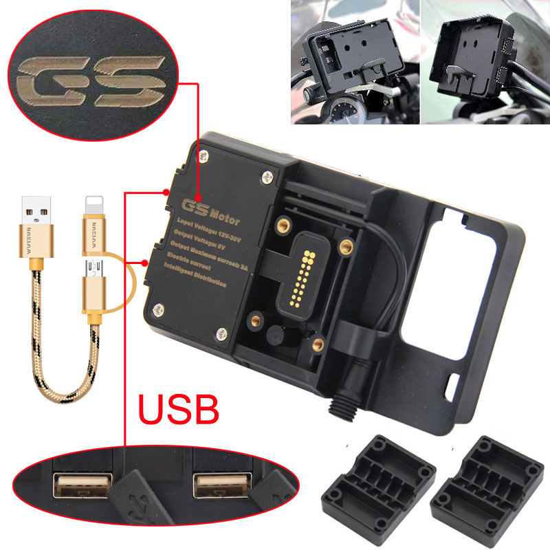 For BMW R1200GS Mobile Phone Navigation Bracket ADV F700 800GS CRF1000L Africa Twin For Honda Motorcycle USB Charging 12MM Mount(China)