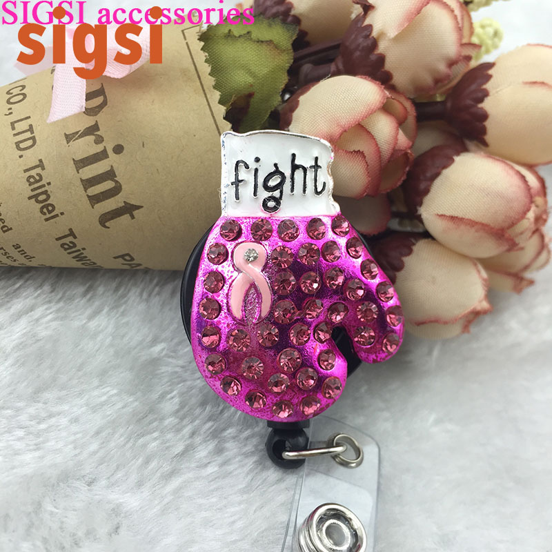 Boxing Glove Pink Ribbon Fight Against Breast Cancer Awareness Retractable ID Badge Reel holder