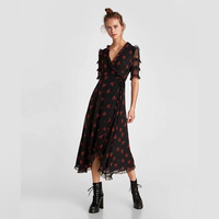 BEFORW 2018 Women Summer Ruffles Short Sleeve Lace Maxi Dress Elegant Double Draped Print Black Long