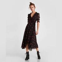 BEFORW 2018 Women Summer Ruffles Short Sleeve Lace Maxi Dress Elegant Double Draped Print Black Long