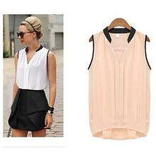 Summer Chiffon Blouses Women Plus Size Loose Casual Sleeveless Vest Pactwork White Pink V-Neck Tops Office Lady Blouse Shirts