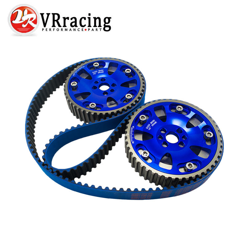 VR - BLUE HNBR Racing Timing Belt + Aluminum Cam Gear FOR Nissan Skyline R32 R33 RB20 RB25DET RB26DETT RB25 VR-TB1010+6536B vr racing hnbr racing timing belt
