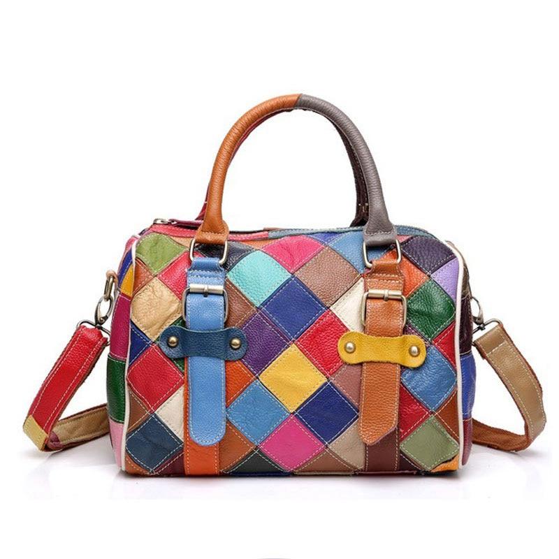100% Genuine Leather Women Bag Fashion Boston Luxury Handbags Famous Brands Shoulder Bag High Quality Designer Large Casual Tote