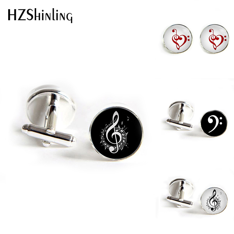 HZShinling 2018 New Fashion Symphony Music Note Cufflinks Musical Note Cuff Link Hot Shirt Glass Round Cufflinks Women