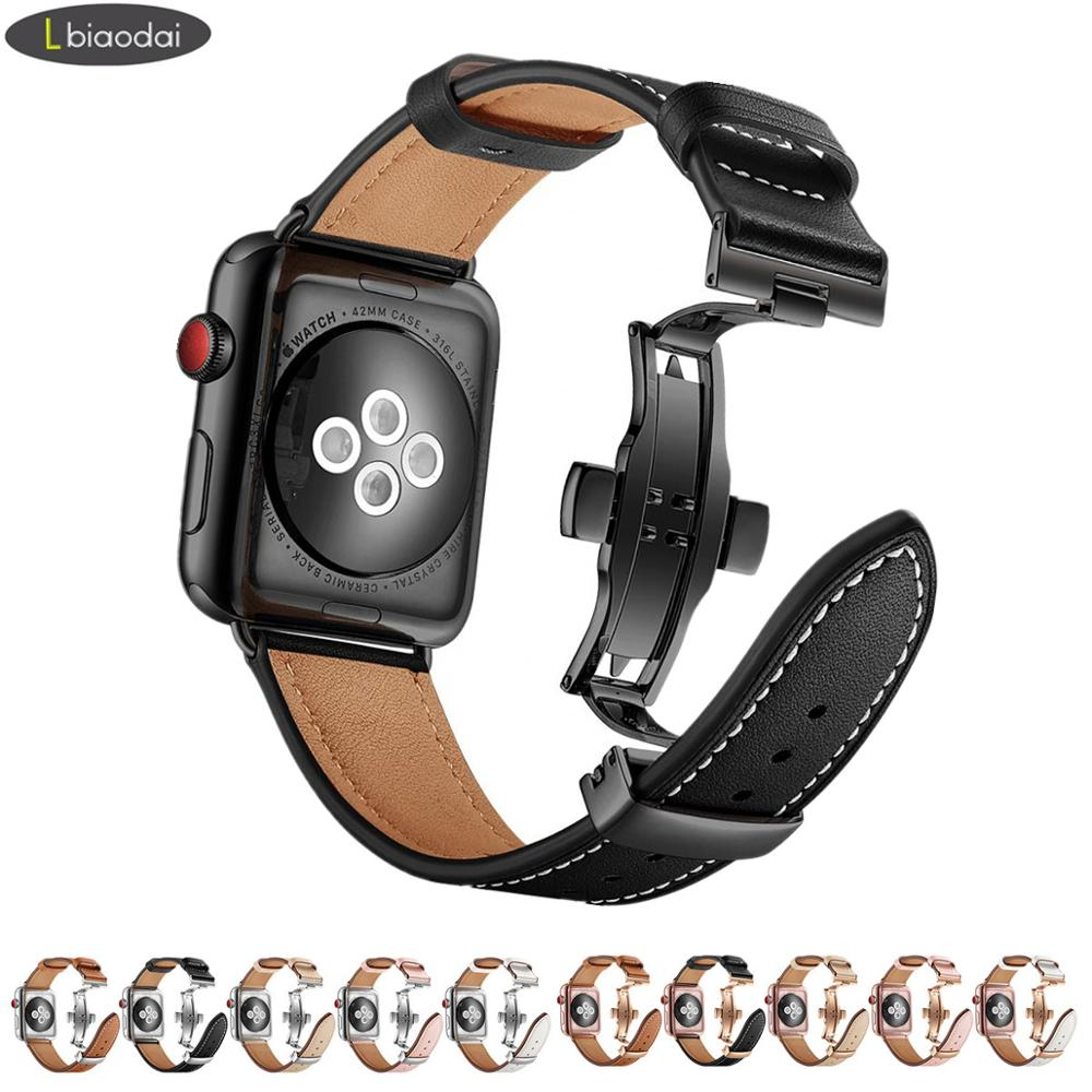 Italy Genuine Leather Strap For Apple Watch 4 Band 44mm 40mm IWatch Band 42mm 38mm Butterfly Buckle Bracelet Apple Watch 3 2 1