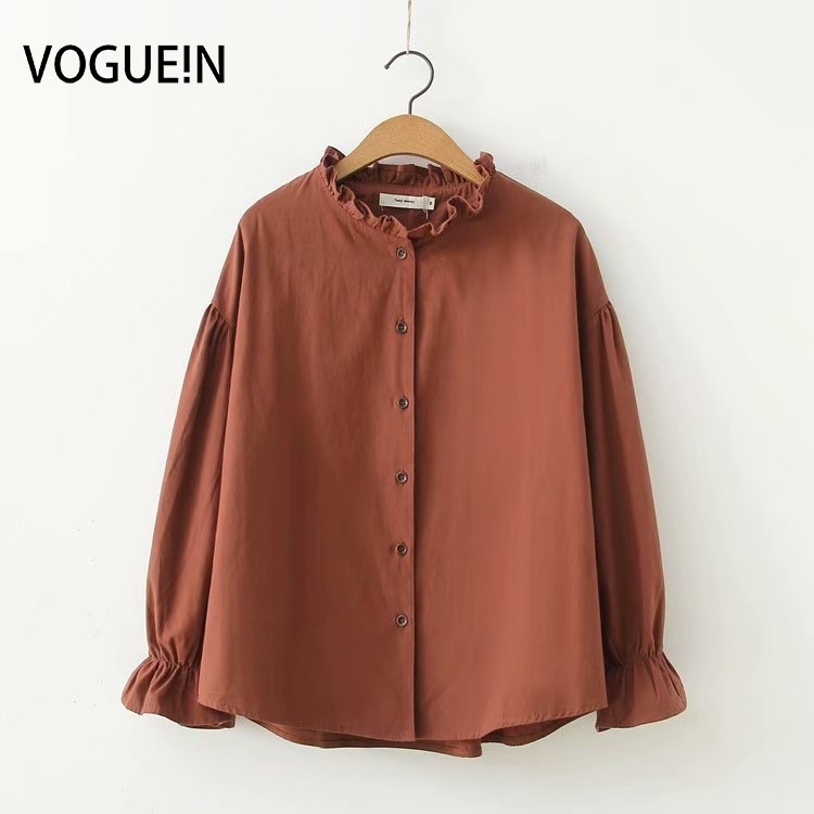 VOGUEIN New Womens Girls Solid Ruffled Collar Long Sleeve   Blouse     Shirt   Tops M L Wholesale
