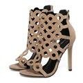 US5-9 Nova Moda Verão sandálias Stiletto sapatos de saltos altos das senhoras das mulheres do Estilo celebridade Zipper Cut-Outs sapatos Bombas mulher