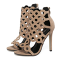 US5-9 Nuevo Estilo de Moda de Verano de las mujeres zapatos de tacón alto sandalias de tacón de Aguja señoras de la celebridad de la Cremallera Recortes zapatos mujer Bombas